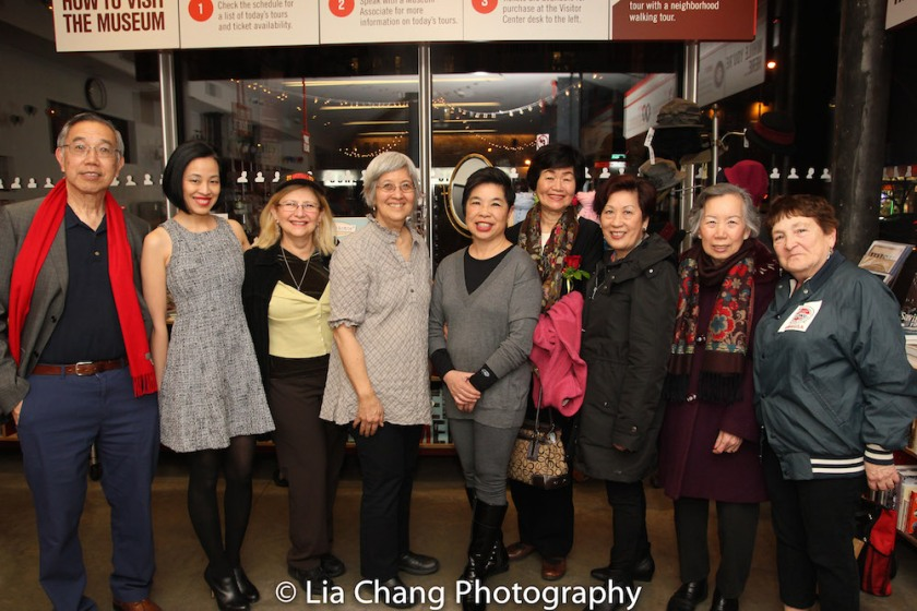 Rocky Chin, Lia Chang, Andi Sosin, May Chen, Katie Quan, Connie Ling, Alice Ip, Agnes Wong, Ann Hoffman at the Lower East Side Tenement Museum in New York on March 8, 2016. Photo by Lia Chang