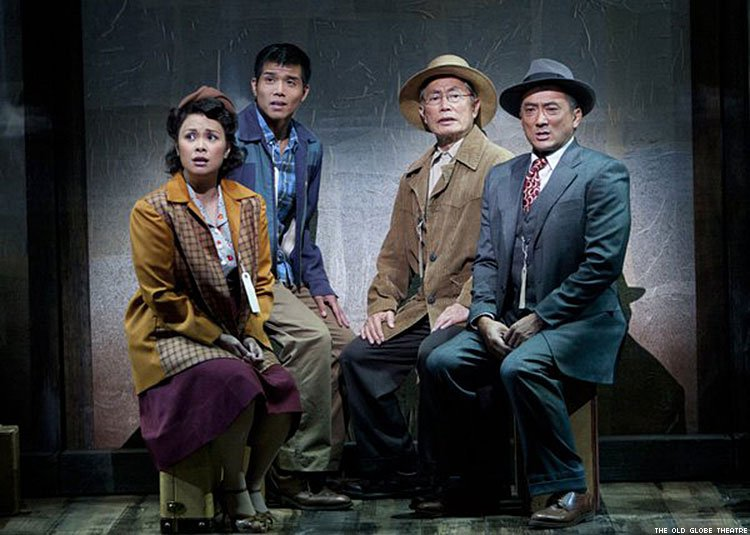 Lea Salonga as Kei Kimura, Telly Leung as Sammy Kimura, George Takei as Ojii-san, and Paul Nakauchi as Tatsuo Kimura in the premiere of Allegiance – A New American Musical at the Old Globe Theatre, before its Broadway run. Photo by Henry DiRocco