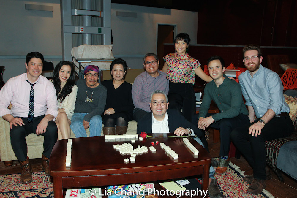Cast members James Yaegashi, Tina Chilip, Jojo Gonzalez, Mia Katigbak, Playwright A. Rey Pamatmat, Director Ralph A. Peña, Cast members Tiffany Villarin, Jeffrey Omura and Conrad Schott on the set of Ma-Yi Theater Company's HOUSE RULES at HERE in New York on March 31, 2016. Photo by Lia Chang