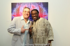 Bobby Sanabria and Will Calhoun at the opening reception of Calhoun's AZA Exhibit at Casita Maria Gallery in New York on April 22, 2016. Photo by Lia Chang