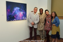 Bobby Sanabria, Will Calhoun, Christina Christine Licata and Elena Martinez at the opening reception of Calhoun's AZA Exhibit at Casita Maria Gallery in New York on April 22, 2016. Photo by Lia Chang