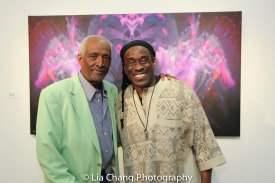 Dr. George Preston, scholar of African art, curator, poet, enstooled Akan chief, a Founding Director of the Museum of Art and Origins, and Will Calhoun. Will Calhoun's AZA Exhibit at Casita Maria Gallery in New York on April 22, 2016. Photo by Lia Chang