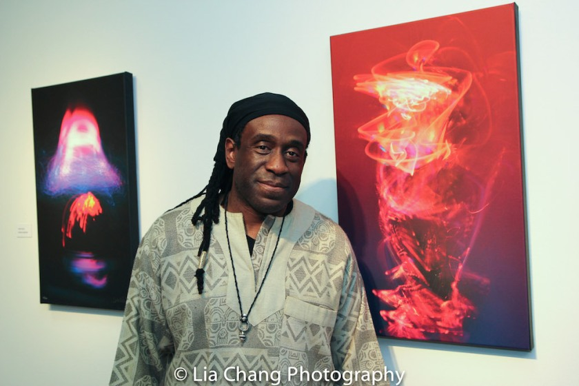"Will Calhoun poses with ""Ethel,"" named for his sister, at the opening reception of his AZA Exhibit at Casita Maria Gallery in New York on April 22, 2016. Photo by Lia Chang"