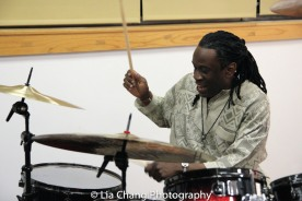 Will Calhoun performs at the opening reception of his AZA Exhibit at Casita Maria Gallery in New York on April 22, 2016. Photo by Lia Chang