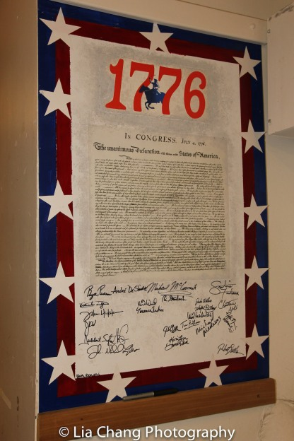 The Declaration of Independence - signed by the cast members of Encores! 1776. Photo by Lia Chang
