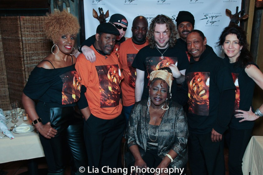 Aziza Miller (background vocals), Dennis Moriarity (harmonica), Mark Bowers (guitar), Phonzie Wesby (drums), Ebony Jo-Ann, Chulo Gatewood (bass), Howie Robbins (keyboards) and Valerie Ghent (background vocals). Photo by Lia Chang