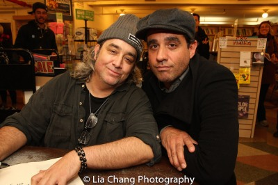 "Stephen Adly Guirgis and Bobby Cannavale, who received a Tony nomination for Guirgis' ""The Motherf***er with the Hat"" at the Drama Book Shop in New York on April 5, 2016. Photo by Lia Chang"