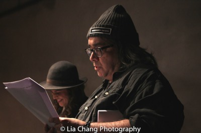 "Stephen Adly Guirgis reads a scene from ""Between Riverside and Crazy"" with Paola Lázaro-Muñoz at the Drama Book Shop in New York on April 5, 2016. Photo by Lia Chang"