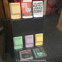 Plays by Stephen Adly Guirgis in the front window display at the Drama Book Shop in New York on April 5, 2016. Photo by Lia Chang