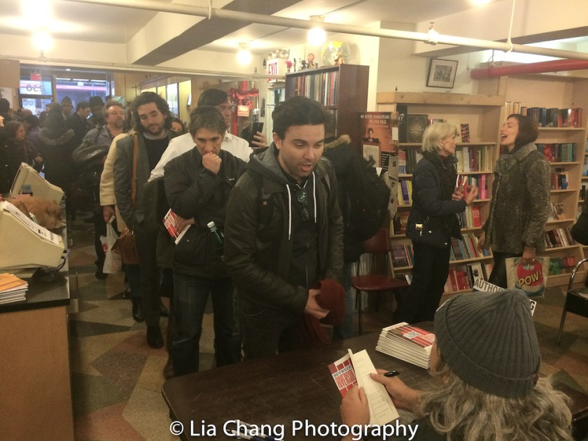The line for those patiently waiting for Stephen Adly Guirgis to sign his scripts spanned the length of the Drama Book Shop in New York on April 5, 2016. Photo by Lia Chang
