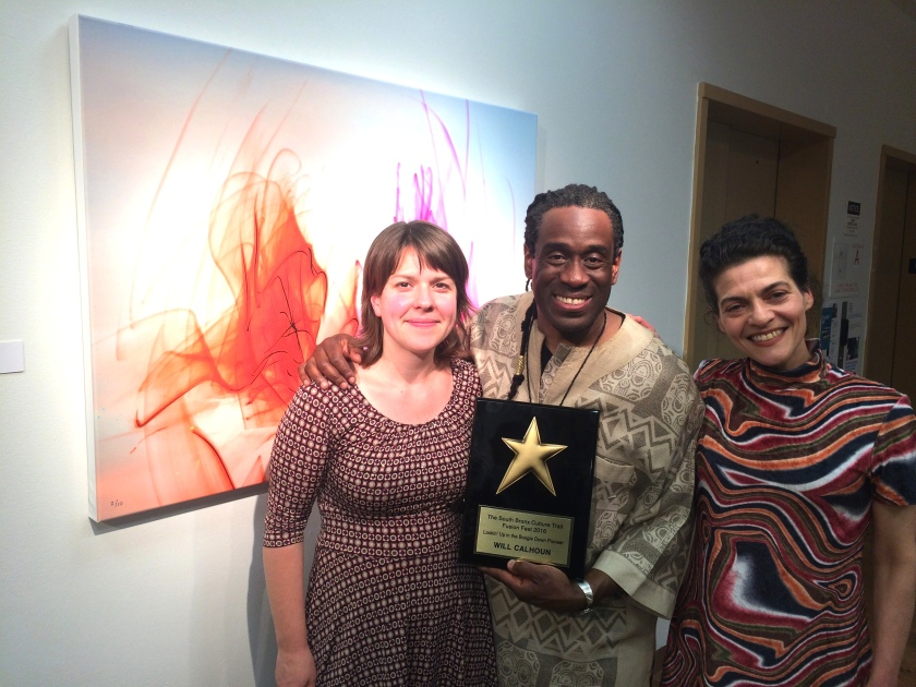 Gail Heidel, Manager of Performing and Visual Arts at Casita Maria Center for Arts and Education, Will Calhoun and Christine Licata, Director of Performing and Visual Arts at Casita Maria Center for Arts and Education at the opening reception of Calhoun's AZA Exhibit at Casita Maria Gallery in New York on April 22, 2016. Photo by Lia Chang
