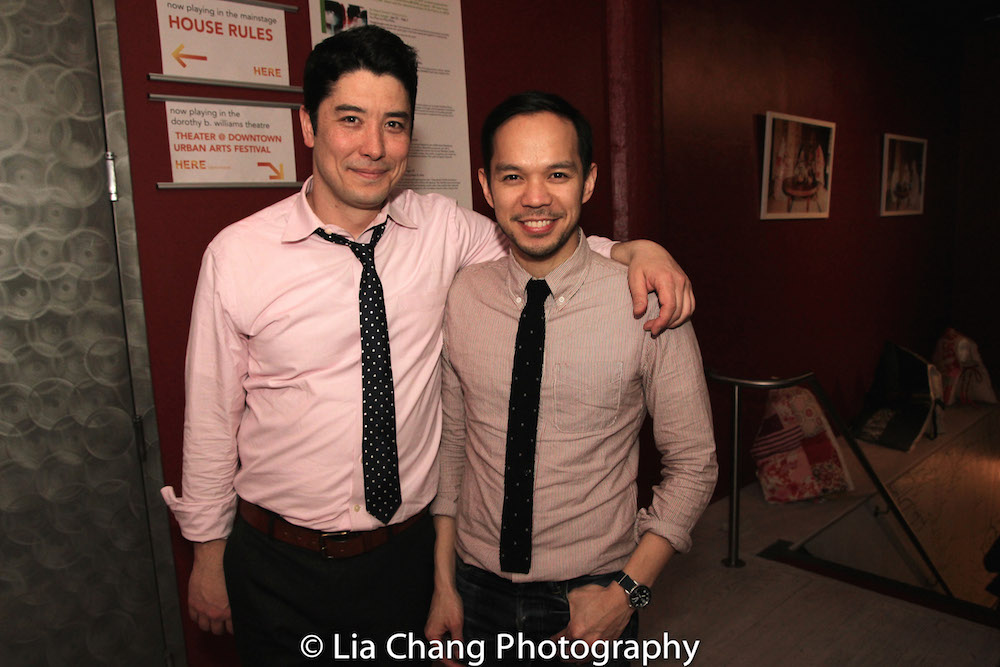 James Yaegashi and Jon Norman Schneider at the opening night party of A. Rey Pamatmat's HOUSE RULES at HERE in New York on March 31, 2016.  The pair appeared in Lincoln Center Theater's THE OLDEST BOY. Photo by Lia Chang
