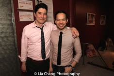 A reunion for James Yaegashi and Jon Schneider who appeared in Lincoln Center Theater's THE OLDEST BOY. Photo by Lia Chang