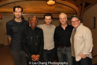 John Behlmann, André De Shields, Bryce Pinkham, John Hickok and Jacob Keith Watson. Photo by Lia Chang