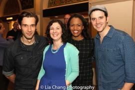 John Behlmann, Company Manager Beth Renoni, Nikki Renée Daniels and Santino Fontana. Photo by Lia Chang