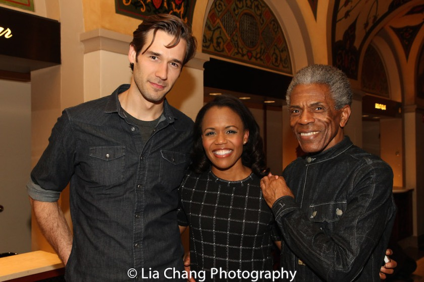 John Behlmann and Nikki Renée Daniels played Thomas and Martha Jefferson, with André De Shields. Photo by Lia Chang