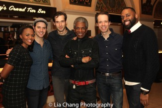 Nikki Renée Daniels, Santino Fontana, John Behlmann, André De Shields, Laird Mackintosh and Nicholas Ward. Photo by Lia Chang