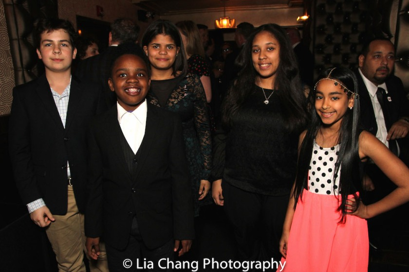 The five kids of The 52nd Street Project who were the comedy writers for LAUGHING MATTERS, Kids' Stand-up Adults Deliver, the annual gala on Monday May 2, 2016 at the Edison Ballroom (l to r): Milen Tokarev, age 13; Coleman Williams, age 11; Karen Tineo, age 13; Jayla Alvarez, age 13; Magalis Fabian Viñas, age 11. Photo by Lia Chang