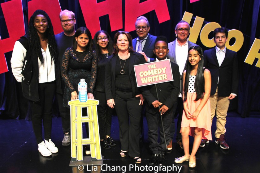 The company of LAUGHING MATTERS, Kids' Stand-up, Adults Deliver, The 52nd Street Project's annual gala, Monday May 2, 2016 at the Edison Ballroom (l to r): Jessica Williams, Jim Gaffigan, Karen Tineo, Jayla Alvarez, Kathleen Madigan, Lewis Black, Coleman Williams, John Bowman, Magalis Fabian Viñas, & Milen Tokarev. Photo by Lia Chang