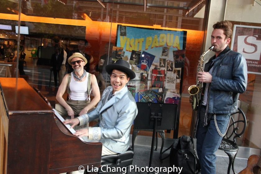 During the preshow, cast members Gregory Linington, Telly Leung and Matthew Russell entertain audience members on the sidewalk in front of Sidney Harmon Hall in Washington D.C. on May 24, 2016. Photo by Lia Chang