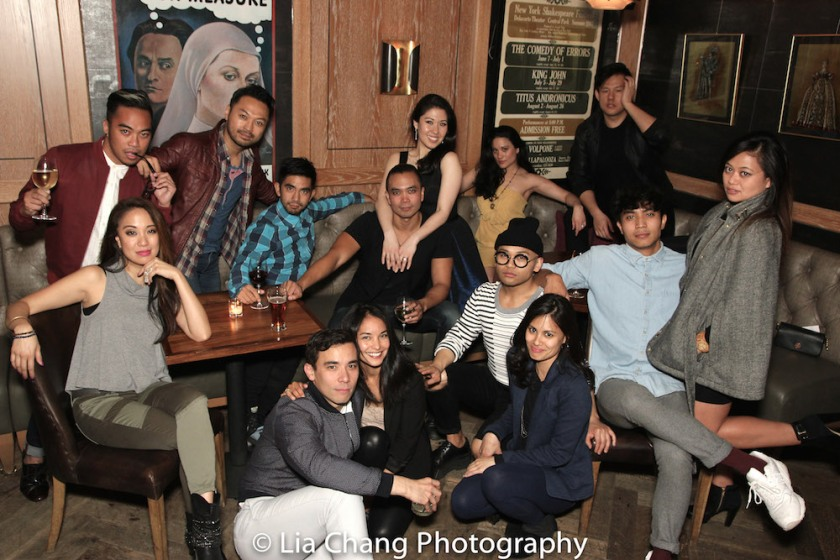 A HERE LIES LOVE REUNION - Back row- Jaygee Macapugay, Enrico Rodriguez, Billy Bustamante, Aaron J. Albano, Jose Llana, Ruthie Ann Miles, Diane De Boer and Kelvin Moon Loh. Front Row: Conrad Ricamora, Janelle Velasquez, Debralee Daco, Jegh Madjus, Trevor Salter and Renee Abulario. Photo by Lia Chang