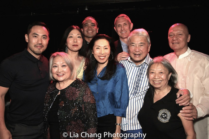 FLOWER DRUM SONG cast members Marcus Choi (2002), Virginia Wing (summer stock), Lainie Sakakura (2002), Jose Llana (2002), Jodi Long (2002), director Bobby Longbottom (2002) Alvin Ing, and Jose Ahumada and Paula Chin (Original Broadway Cast). Photo by Lia Chang