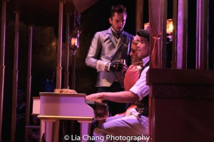 Matthew Russell as Tranio, Oliver Thornton as Bianca and Telly Leung as Lucentio during the intermezzo. Photo by Lia Chang