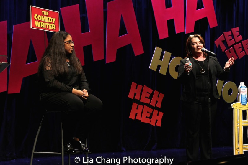Project member Jayla Alvarez, age 13, in the Comedy Writer chair while Kathleen Madigan performs Jayla's stand-up. Photo by Lia Chang
