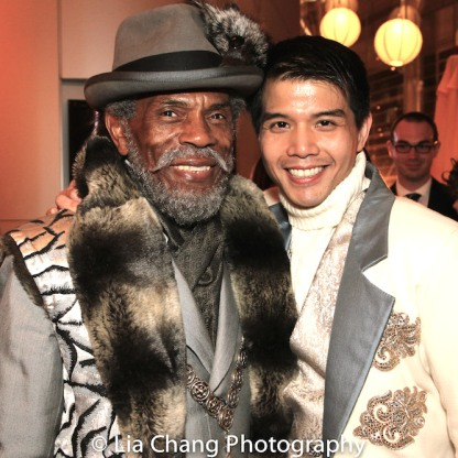 STC's THE TAMING OF THE SHREW postshow: Father and son- André De Shields as Vincentio and Telly Leung as Lucentio. Photo by Lia Chang