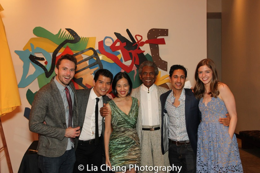 Matthew Russell, Telly Leung, Lia Chang, André De Shields, Maulik Pancholy and a guest. Photo by James Babcock
