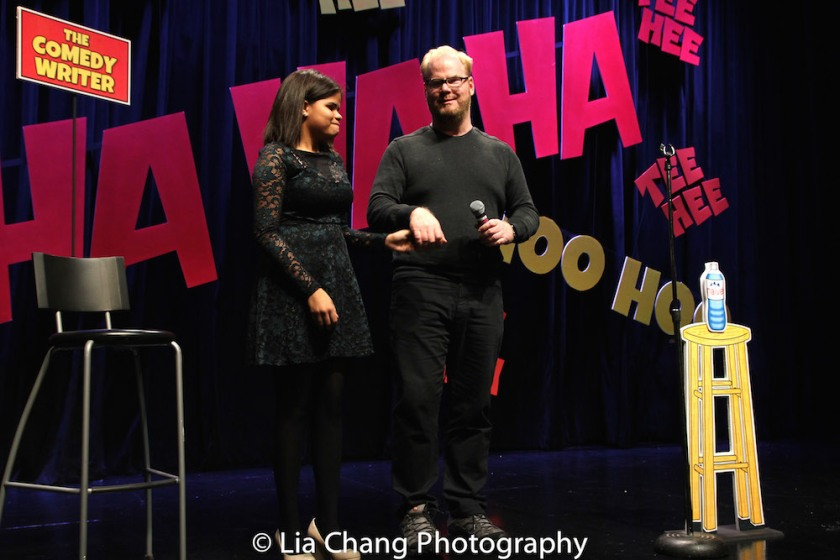 Project member Karen Tineo, age 13, wrote stand-up that was performed by Jim Gaffigan, then they took a bow. Photo by Lia Chang