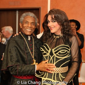 STC's The Taming of the Shrew preshow: André De Shields as Cardinal Gremio and Rick Hammerly as Widow. Photo by Lia Chang