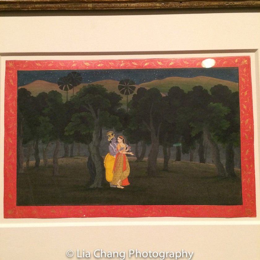 """The Lovers Radha and Krishna in a Palm Grove,"" Folio from the ""Second"" or ""Tehri Garhwal"" Gita Govinda (Song of God) ca. 1775–80; Opaque watercolor and gold on paper. Photo by Lia Chang"
