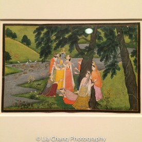 """""""Krishna and the Gopis (Milk Maids) on the Bank of the Yamuna River,"""" Folio from the """"Second"""" or """"Tehri Gahrwal"""" Gita Govinda (Song of God), ca. 1775–80; Opaque watercolor and gold on paper. Photo by Lia Chang"""