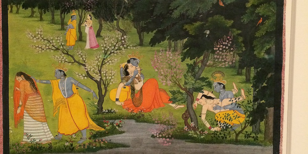 """Krishna Frolics with the Gopis (Milkmaids)"", Folio from the ""Second"" or ""Tehri Garhwal"" Gita Govinda (Song of God), ca. 1775–80, Opaque watercolor and gold on paper. Photo by Lia Chang"