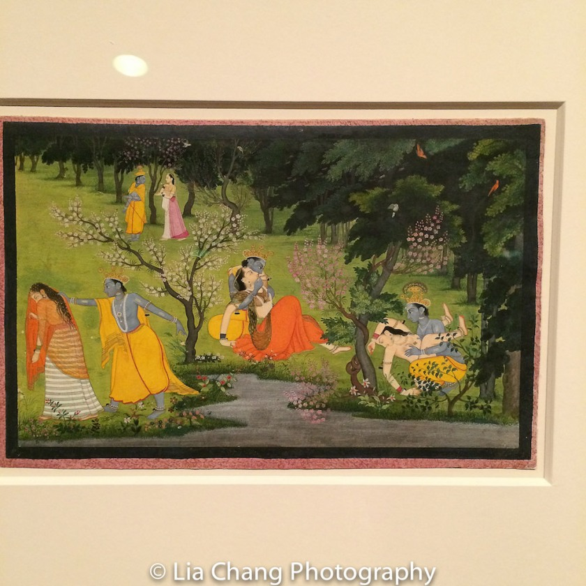 """""""Krishna Frolics with the Gopis (Milkmaids)"""", Folio from the """"Second"""" or """"Tehri Garhwal"""" Gita Govinda (Song of God), ca. 1775–80, Opaque watercolor and gold on paper. Photo by Lia Chang"""