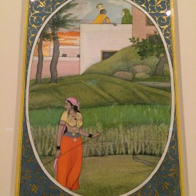 """The Village Beauty,"" Folio from the dispersed ""Kangra 'Bihari"" Sat Sai (Seven Hundred Verses) ca. 1785; Opaque watercolor, ink and gold on paper. Photo by Lia Chang"
