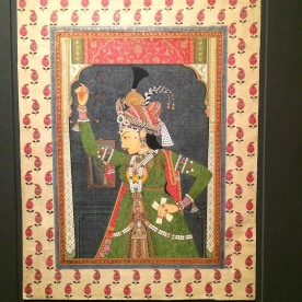 """""""An Idealized Beauty, Holding Musical Clappers Rajasthan, kingdom of Jaipur,"""" ca. 1760-1800; Opaque watercolor, gold and silver (now oxidized) on paper. Photo by Lia Chang"""