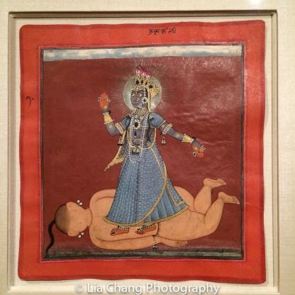 """The Devi, in the Form of Bhadrakali, Standing on the Corpse of a Giant Brahmin,"" Illustrated folio from a dispersed ""Tantric Devi"" series; Attributed to the Master of the Early Rasamanjari, ca. 1660-70; Opaque watercolor, gold, silver and beetle­wing cases on paper. Photo by Lia Chang"