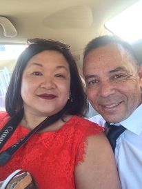 Proud parents, Marissa Chang-Flores and Carlos Flores. Photo by Lia Chang