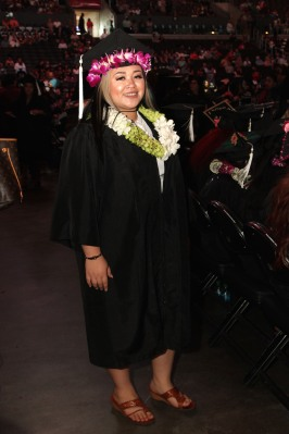Asia Flores at the 2016 FIDM Graduation at the Staples Center in LA on June 20, 2016. Photo by Lia Chang