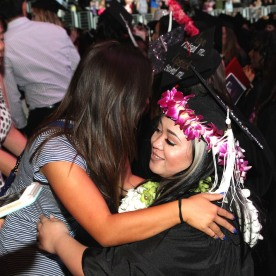 Leah Baptista and her cousin Asia Flores at the 2016 FIDM Graduation at the Staples Center in LA on June 20, 2016. Photo by Lia Chang