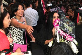 Pauline Chang and her niece Asia Flores at the 2016 FIDM Graduation at the Staples Center in LA on June 20, 2016. Photo by Lia Chang