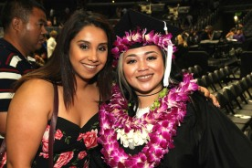 Kathy Pietra and her cousin Asia Flores at the 2016 FIDM Graduation at the Staples Center in LA on June 20, 2016. Photo by Lia Chang