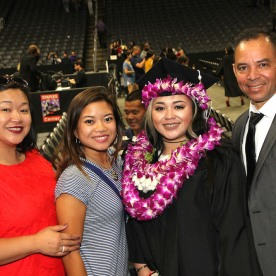 Asia Flores with her cousin Leah Baptista and her parents, Marissa Chang-Flores and Carlos Flores.