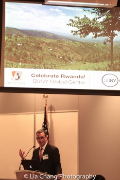 "Drew Kahn, Professor of Theater at Buffalo State College and Founder of The Anne Frank Project speaks at the ""Celebrate Rwanda"" event at The SUNY Global Center in New York on June 29, 2016. Photo by Lia Chang"
