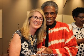 "Sally Crimmins Villela, SUNY Assistant Vice Chancellor for Global Affairs and André De Shields at the ""Celebrate Rwanda"" event at The SUNY Global Center in New York on June 29, 2016. Photo by Lia Chang"