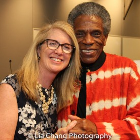 """Sally Crimmins Villela, SUNY Assistant Vice Chancellor for Global Affairs and André De Shields at the """"Celebrate Rwanda"""" event at The SUNY Global Center in New York on June 29, 2016. Photo by Lia Chang"""