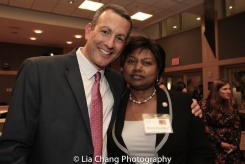 """Drew Kahn, Professor of Theater at Buffalo State College and Founder of The Anne Frank Project and Mathilde Mukantabana, Ambassador of the Republic of Rwanda to the United States of America at the """"Celebrate Rwanda"""" event at The SUNY Global Center in New York on June 29, 2016. Photo by Lia Chang"""