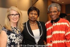 "Sally Crimmins Villela, SUNY Assistant Vice Chancellor for Global Affairs; Mathilde Mukantabana, Ambassador of the Republic of Rwanda to the United States of America; André De Shields at the ""Celebrate Rwanda"" event at The SUNY Global Center in New York on June 29, 2016. Photo by Lia Chang"